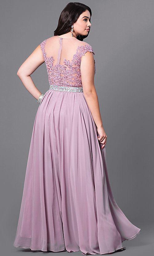 Image of long plus-size formal dress with illusion-lace bodice. Style: DQ-9400P Back Image