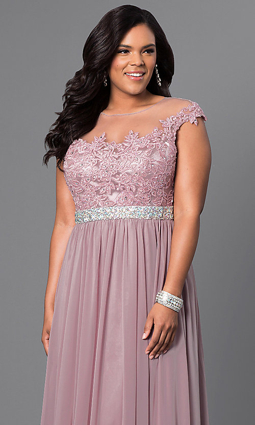 Image of long plus-size formal dress with illusion-lace bodice. Style: DQ-9400P Detail Image 3