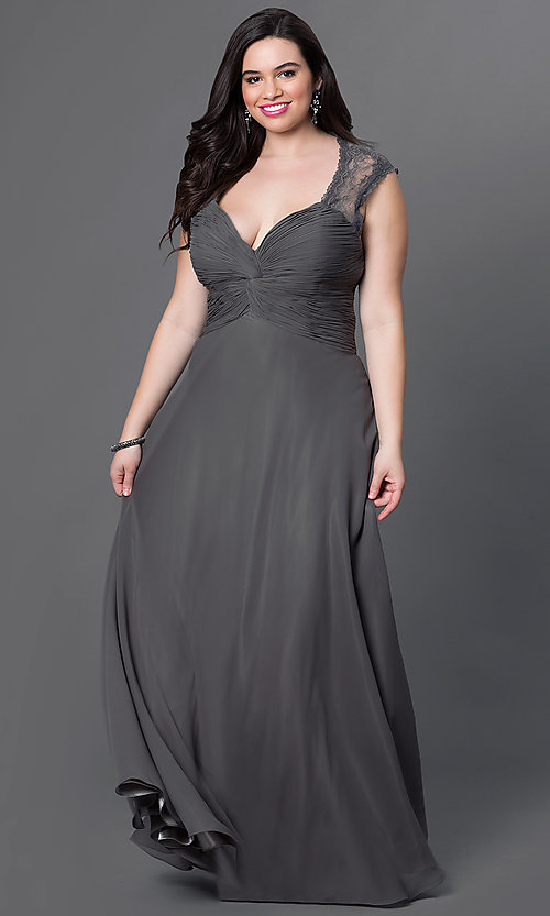 Image of plus-size long formal v-neck dress with lace back.  Style: FB-GL1376Pp Detail Image 3