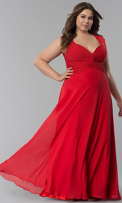 Image of plus-size long formal v-neck dress with lace back.  Style: FB-GL1376Pp Front Image