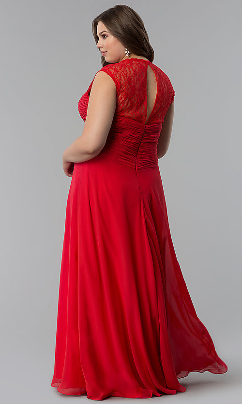 Image of plus-size long formal v-neck dress with lace back.  Style: FB-GL1376Pp Back Image