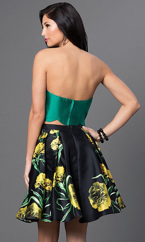 Image of strapless two-piece party dress with floral print. Style: BL-PG014 Back Image