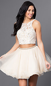 Image of two-piece Blush homecoming dress with lace bodice. Style: BL-PG028 Front Image