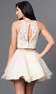 Image of two-piece Blush homecoming dress with lace bodice. Style: BL-PG028 Back Image