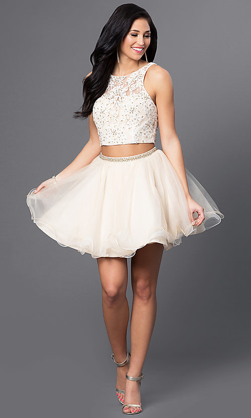 Image of two-piece Blush homecoming dress with lace bodice. Style: BL-PG028 Detail Image 1