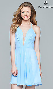 Image of Faviana short sleeveless dress with lace-up back.  Style: FA-7851 Detail Image 2