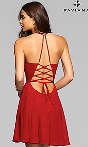Image of Faviana short sleeveless dress with lace-up back.  Style: FA-7851 Back Image