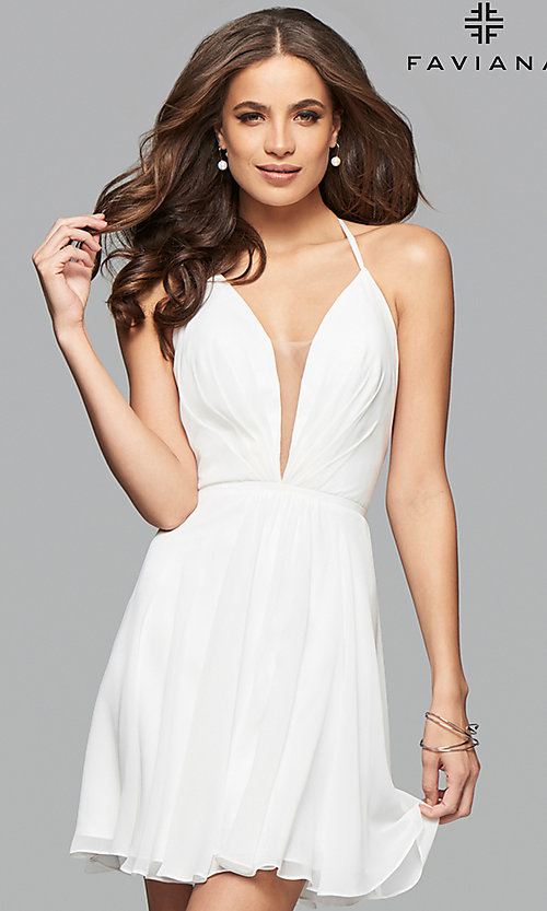 Image of Faviana short sleeveless dress with lace-up back.  Style: FA-7851 Detail Image 1