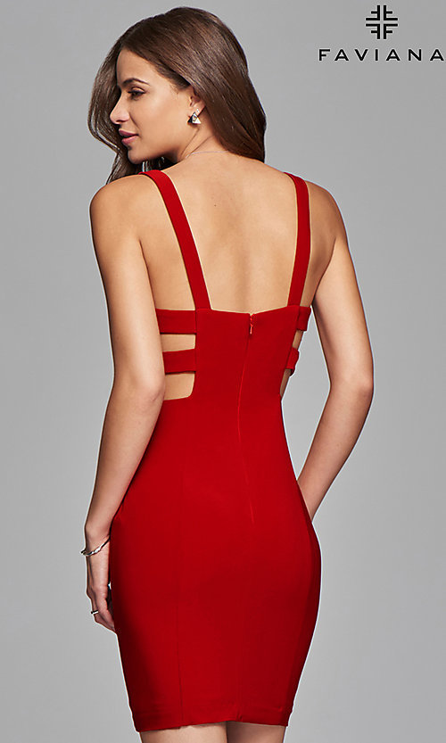 Image of short jersey v-neck party dress with cut outs. Style: FA-7852 Back Image