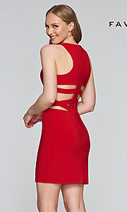 Image of Faviana short dress with cut-outs. Style: FA-7853 Detail Image 5