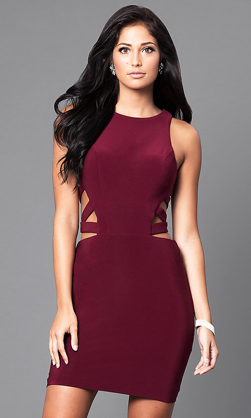 Image of Faviana short dress with cut-outs. Style: FA-7853 Detail Image 1