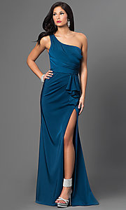 Image of Faviana floor-length one-shoulder gown.  Style: FA-7892 Front Image