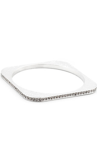 Hammered Silver Bangle with Crystal