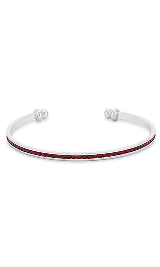 Silver Classic Cuff with Dark Red Cubic Zirconia