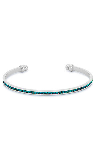 Silver Classic Cuff with Turquoise Cubic Zirconia