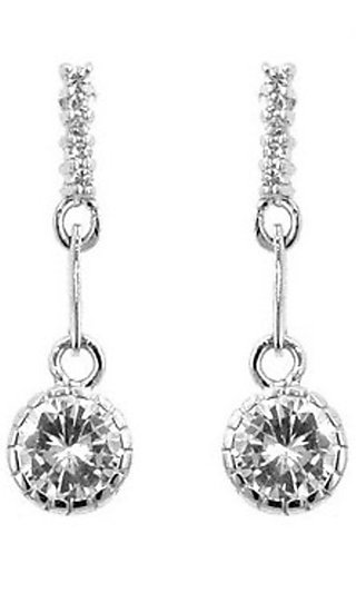 Silver Drop Earring with Round Cubic Zirconia