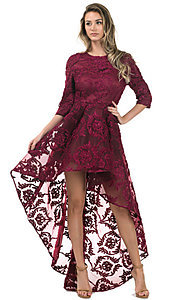 Image of high-low lace dress with 3/4 length sleeves. Style: CQ-5779DW Front Image