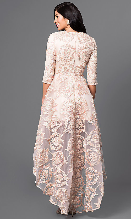 Image of high-low lace dress with 3/4 length sleeves. Style: CQ-5779DW Back Image