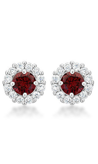 Dark Red and Clear Round Studs