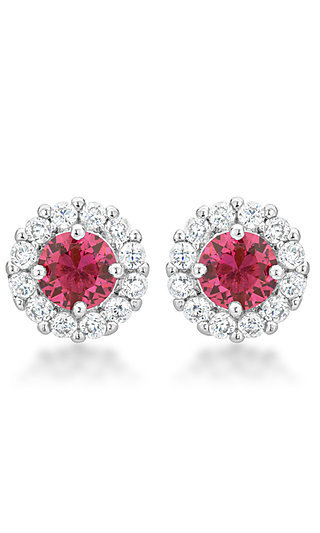 Round Studs with Pink and Clear Cubic Zirconia