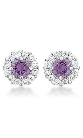 Round Studs with Clear and Purple Cubic Zirconia