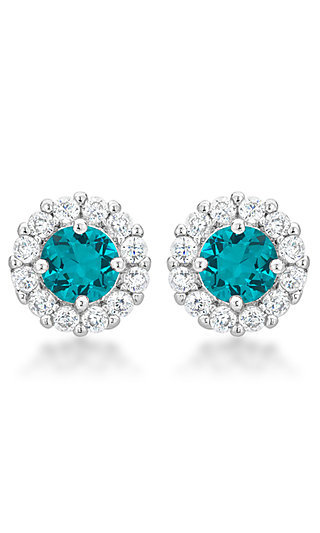 Round Studs with Turquoise and Clear Cubic Zirconia