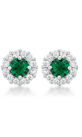 Round Studs with Emerald Green and Clear Cubic Zirconia