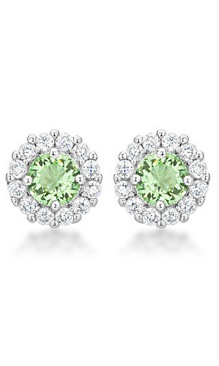 Round Studs with Light Green and Clear Cubic Zirconia