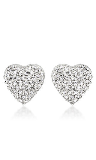 Silver Heart Shaped Studs with Cubic Zirconia