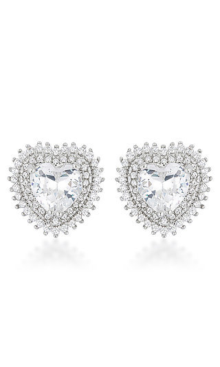 Silver Heart Earrings with Cubic Zirconia