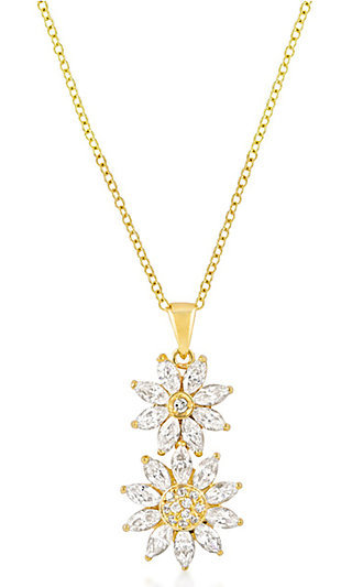 Gold Flower Drop Pendant with Clear Crystal