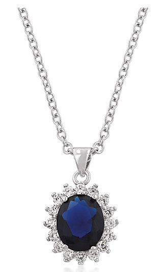 Teardrop Pendant with Royal Blue Cubic Zirconia
