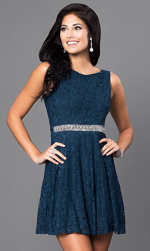 Image of lace v-back semi-formal short party dress. Style: SS-D63623H114 Front Image