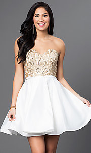 Image of strapless Blush Exclusive homecoming party dress. Style: BL-PG024 Front Image
