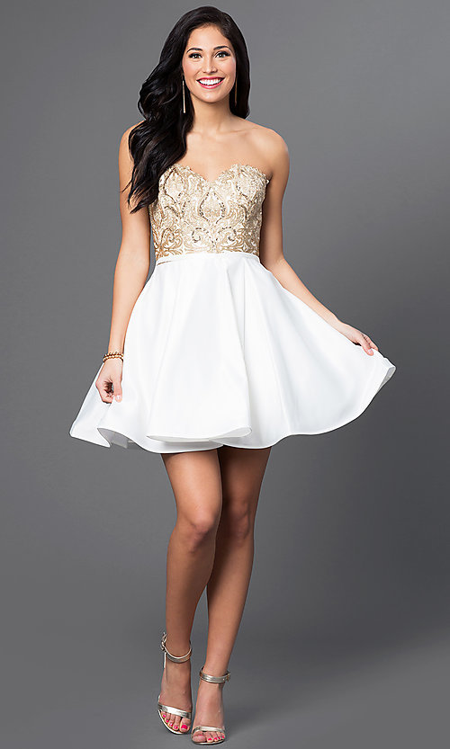 Image of strapless Blush Exclusive homecoming party dress. Style: BL-PG024 Detail Image 1