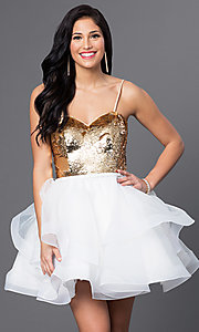 Image of short strapless sequined sweetheart dress. Style: BL-PG027 Detail Image 1