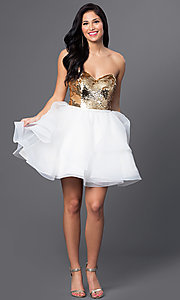 Image of short strapless sequined sweetheart dress. Style: BL-PG027 Detail Image 2