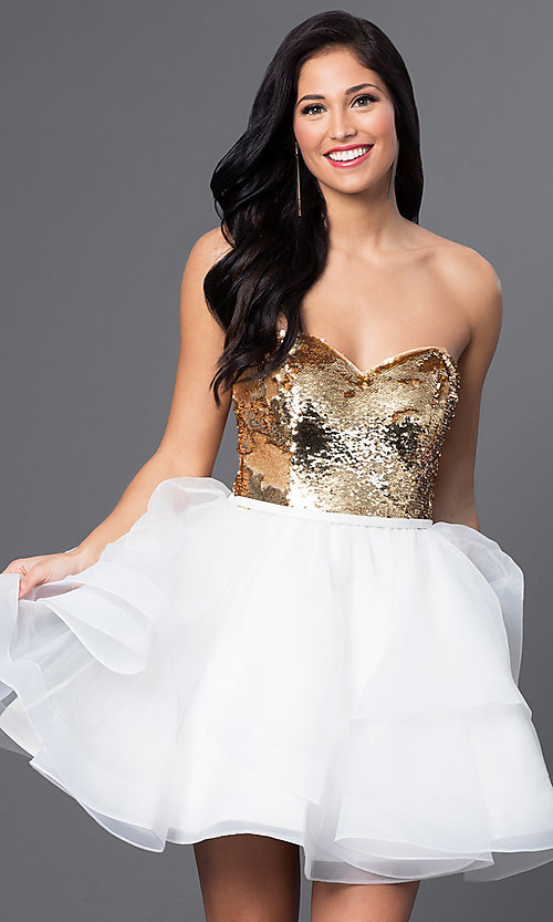 Image of short strapless sequined sweetheart dress. Style: BL-PG027 Front Image