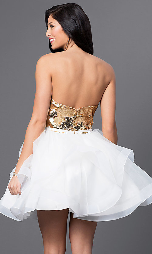 Image of short strapless sequined sweetheart dress. Style: BL-PG027 Back Image