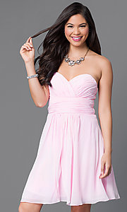 Image of short strapless wedding-guest dress with corset. Style: JT-757 Front Image