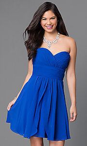 Image of short strapless wedding-guest dress with corset. Style: JT-757 Detail Image 1
