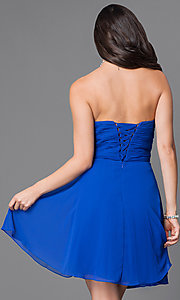 Image of short strapless wedding-guest dress with corset. Style: JT-757 Back Image