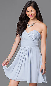 Image of short strapless wedding-guest dress with corset. Style: JT-757 Detail Image 4