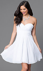 Image of short strapless wedding-guest dress with corset. Style: JT-757 Detail Image 2