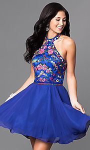 Image of short homecoming dress with embroidered halter. Style: NA-6235 Detail Image 1