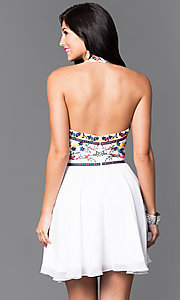 Image of short homecoming dress with embroidered halter. Style: NA-6235 Back Image