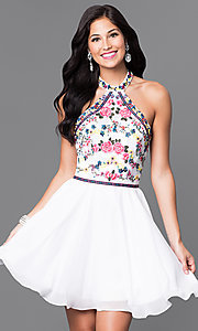 Image of short homecoming dress with embroidered halter. Style: NA-6235 Front Image