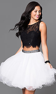 Image of two-piece short black and white party dress. Style: NA-6224 Front Image