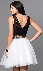 Image of two-piece short black and white party dress. Style: NA-6224 Back Image