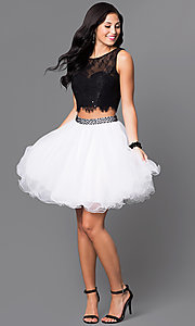 Image of two-piece short black and white party dress. Style: NA-6224 Detail Image 1